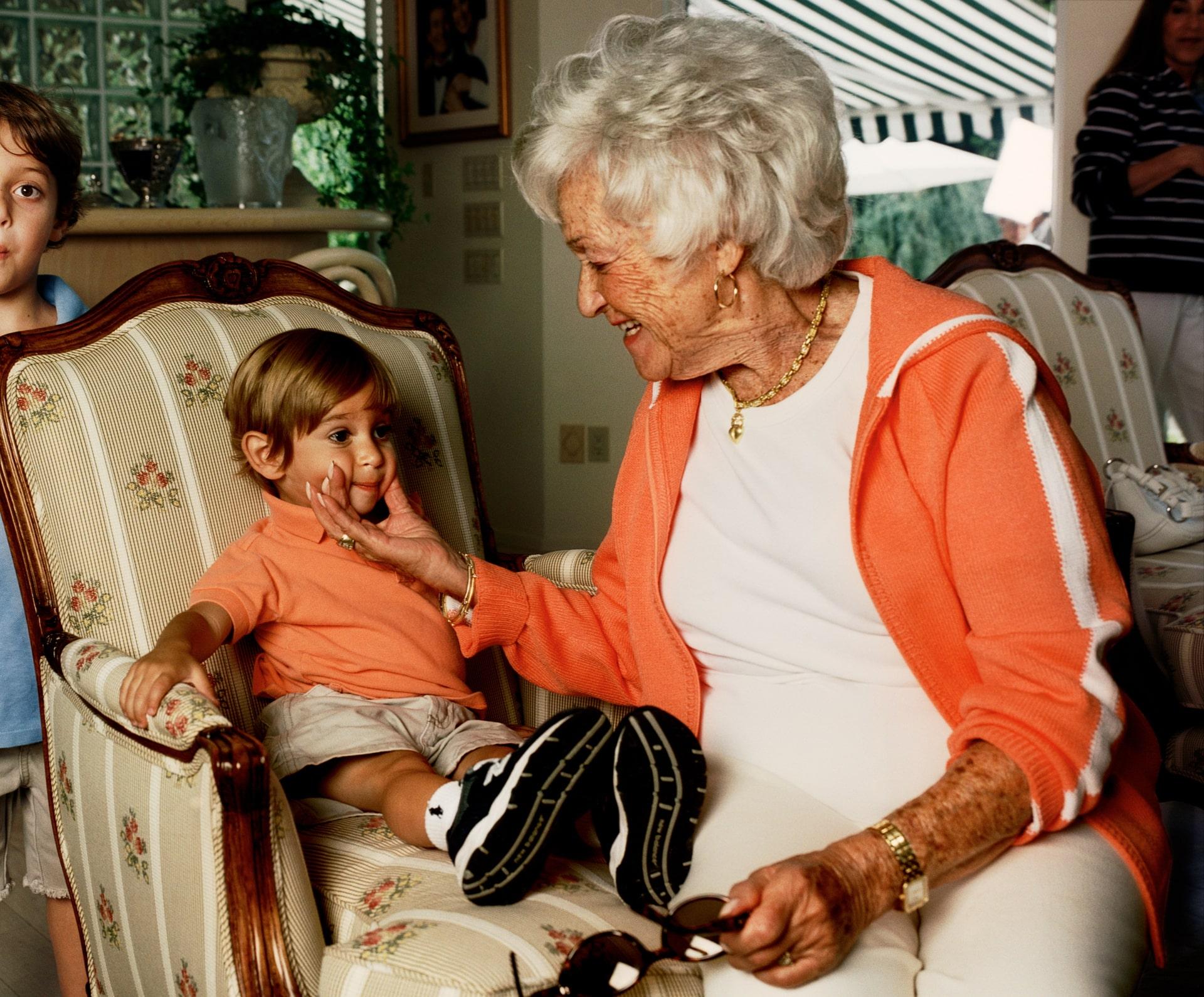 Grandma pinching Nolan's cheeks, Chappaqua, NY 2005